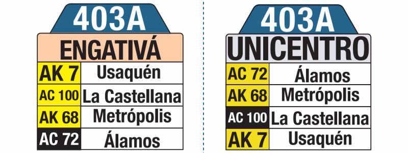 403A Engativá - Unicentro, letrero tabla bus del SITP