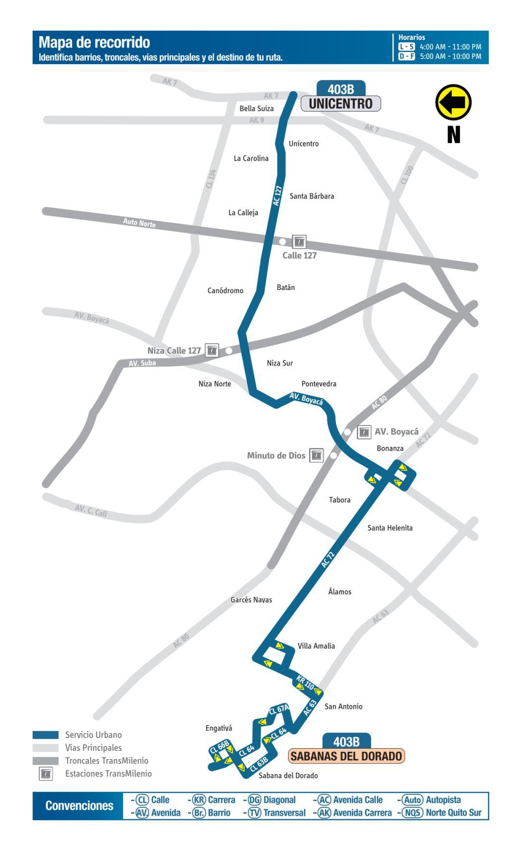 403B Engativá - Unicentro, mapa bus urbano Bogotá