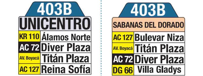 403B Engativá - Unicentro, letrero tabla bus del SITP