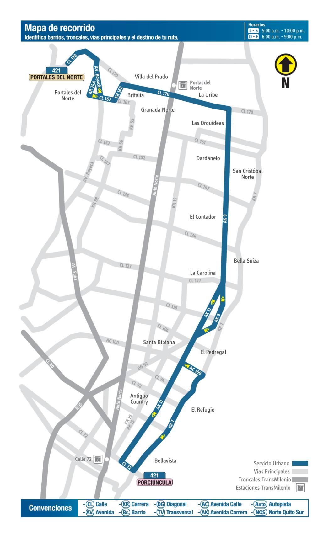 421 Portales del Norte - Porciúncula, mapa bus urbano Bogotá