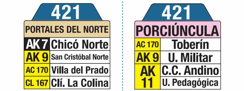 421 Portales del Norte - Porciúncula, letrero tabla bus del SITP