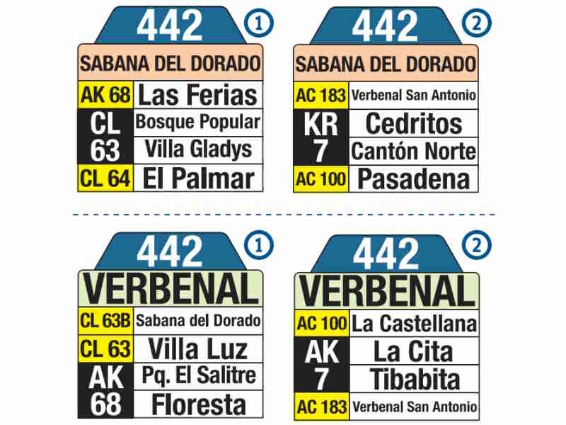 442 Verbenal - Sabana del Dorado, letrero tabla bus del SITP