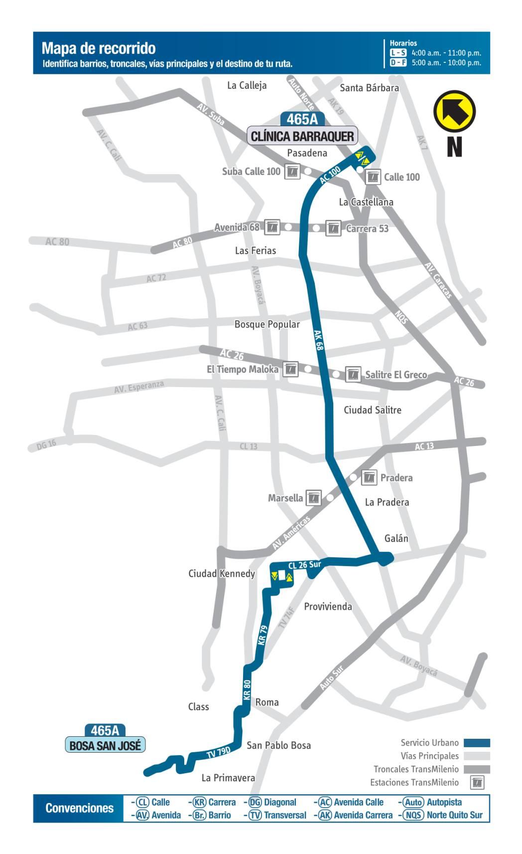 465A Bosa San José - Clínica Barraquer, mapa bus urbano Bogotá