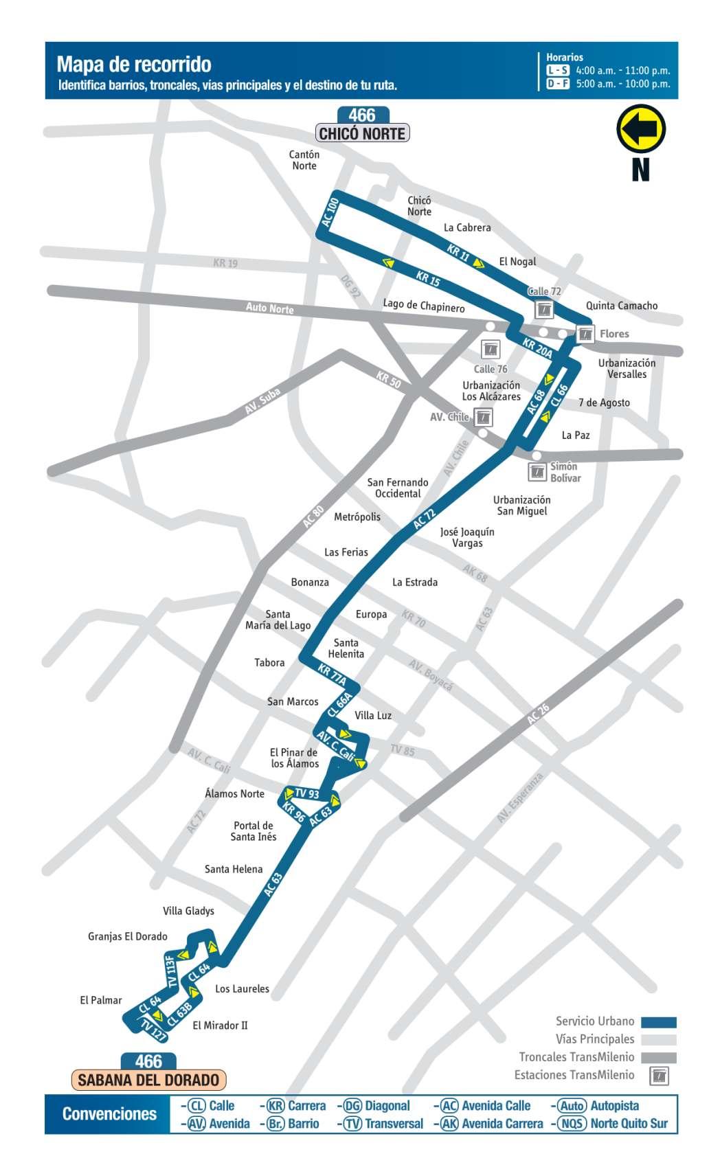 466 Sabana del Dorado - Chicó Norte, mapa bus urbano Bogotá