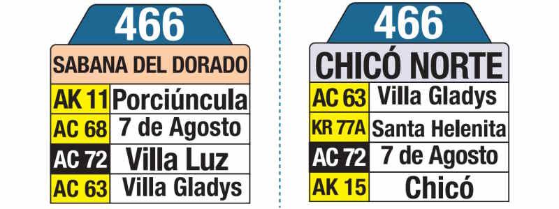 466 Sabana del Dorado - Chicó Norte, letrero tabla bus del SITP