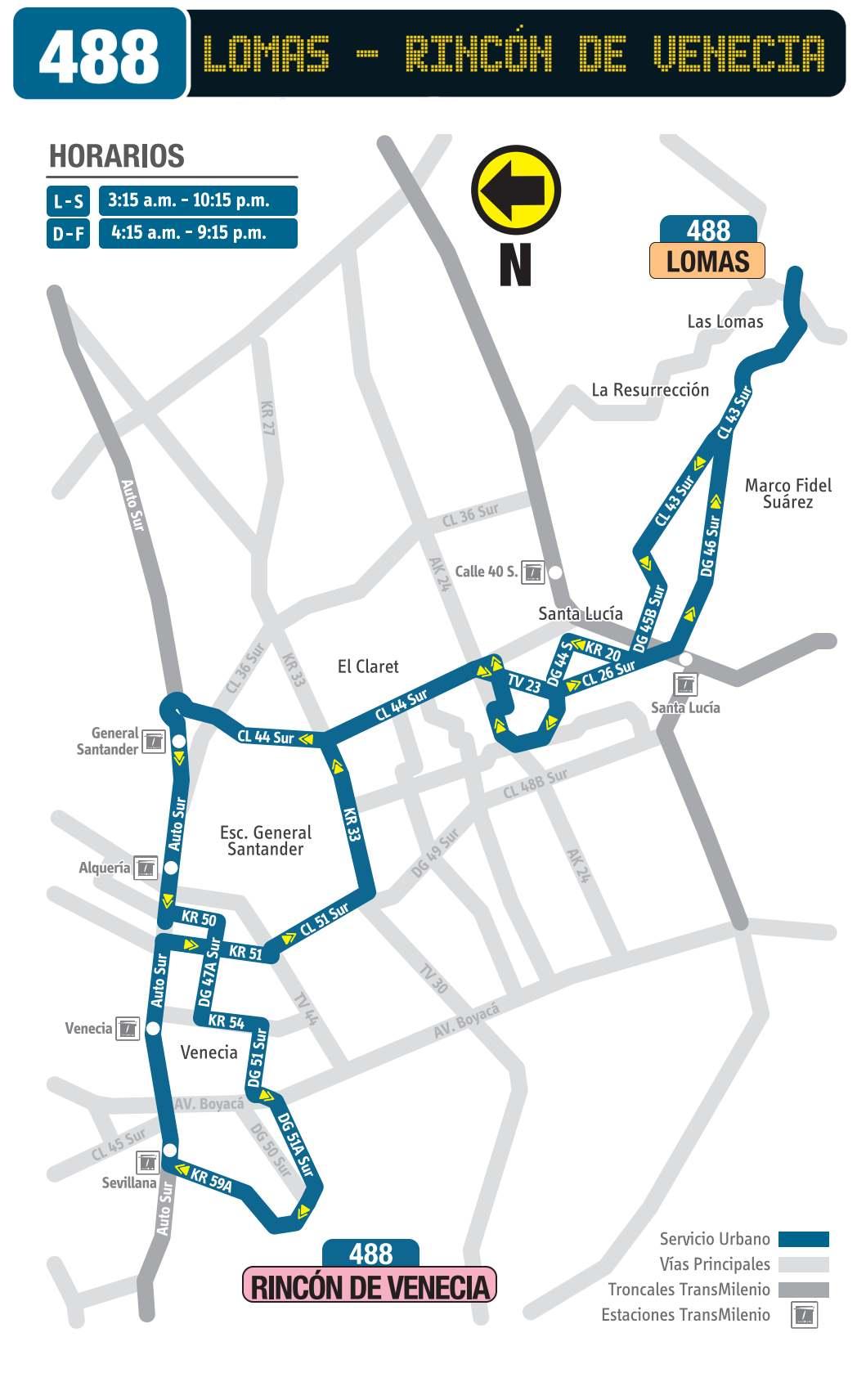 488 Lomas - Rincón de Venecia, mapa bus urbano Bogotá