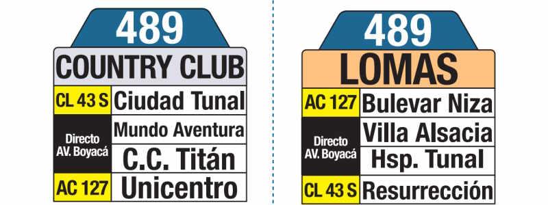 489 Country Club - Lomas, letrero tabla bus del SITP