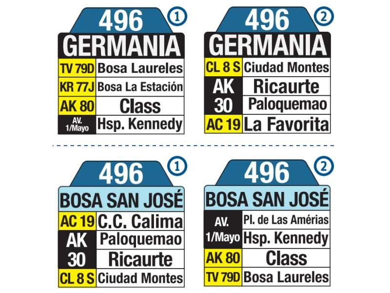 496 Bosa San José - Germania, letrero tabla bus del SITP