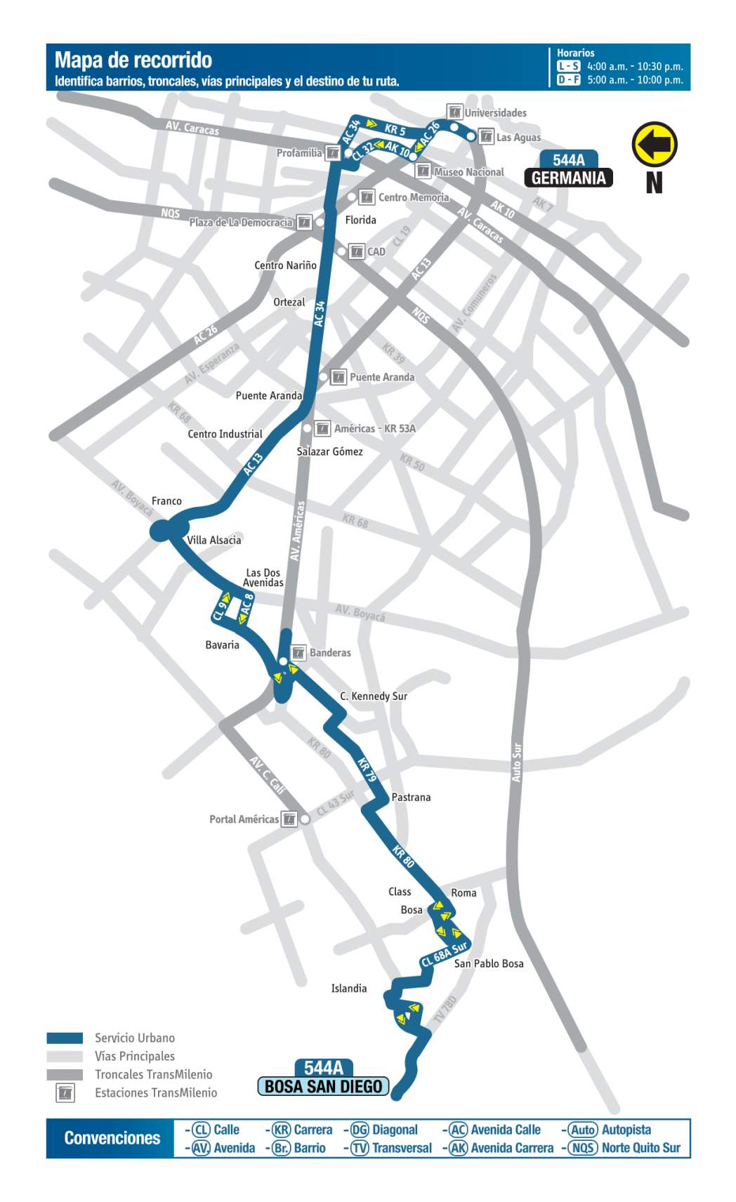 544A Bosa, San Diego - Germania, mapa bus urbano Bogotá
