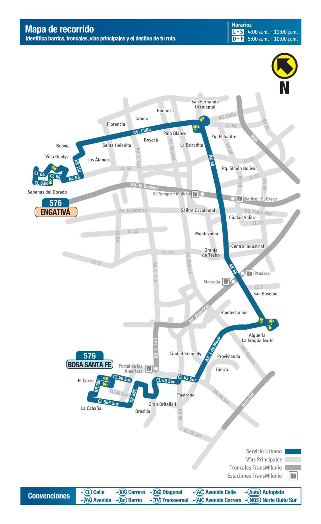 576 Bosa, Santa Fe - Engativá, mapa bus urbano Bogotá