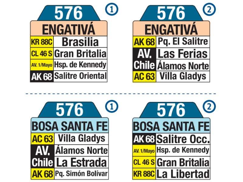 576 Bosa, Santa Fe - Engativá, letrero tabla bus del SITP