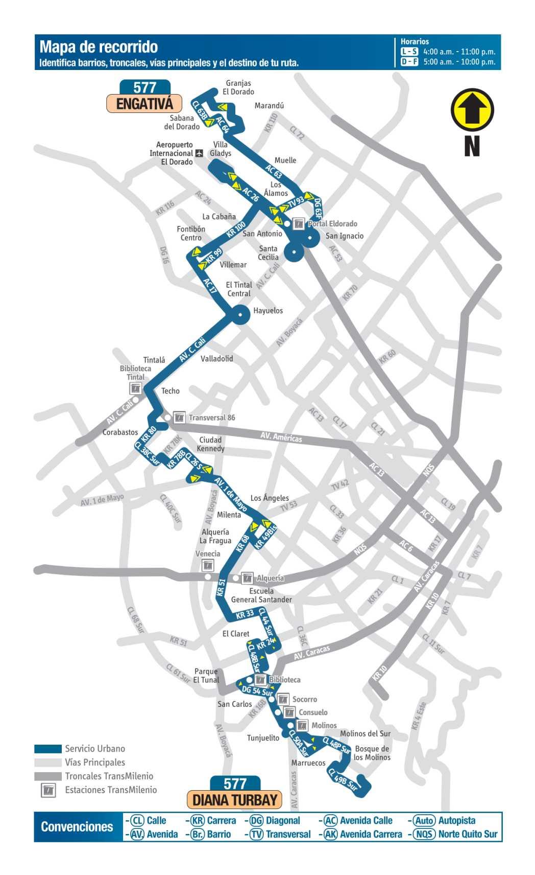 577 El Palmar - Diana Turbay, mapa bus urbano Bogotá
