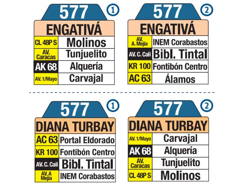 577 El Palmar - Diana Turbay, letrero tabla bus del SITP