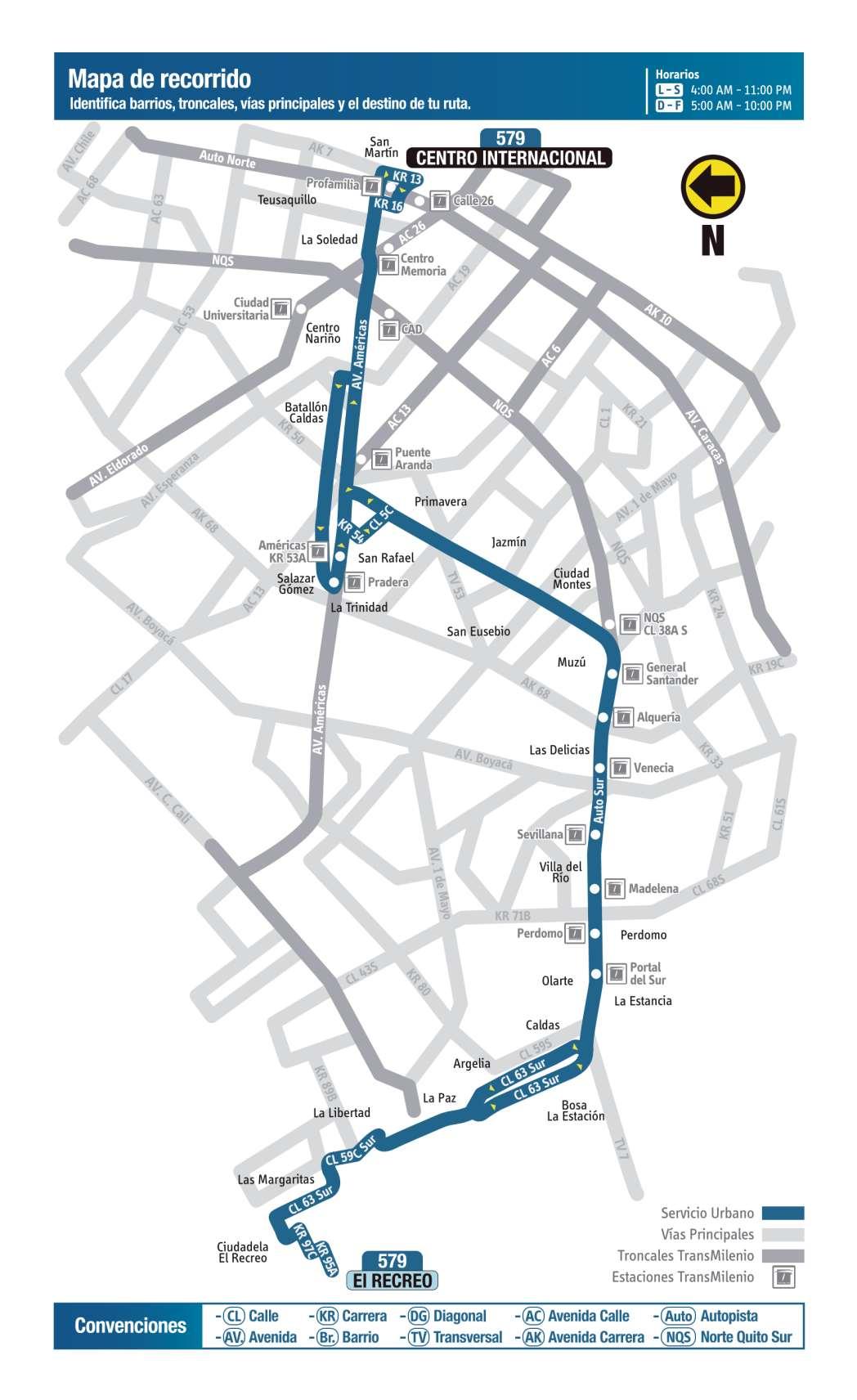 579 Centro Internacional - El Recreo, mapa bus urbano Bogotá