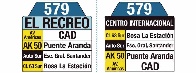 579 Centro Internacional - El Recreo, letrero tabla bus del SITP