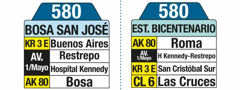580 Estación Bicentenario - Bosa San José, letrero tabla bus del SITP