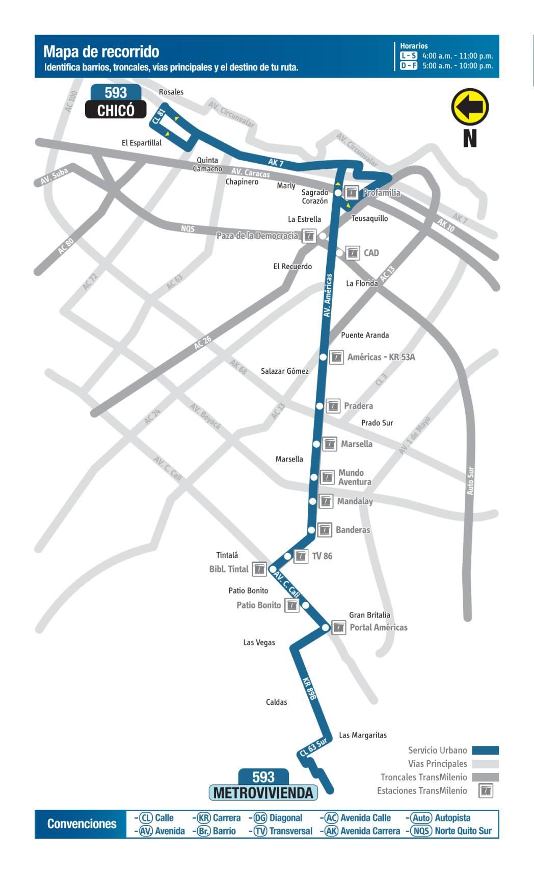 593 Metrovivienda - Chicó, mapa bus urbano Bogotá