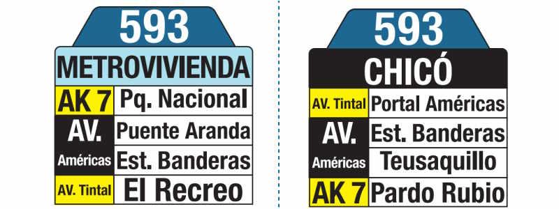 593 Metrovivienda - Chicó, letrero tabla bus del SITP