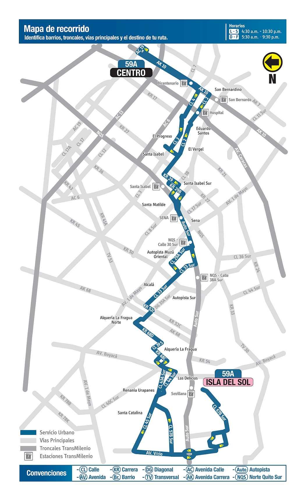 Mapa bus urbano: 59A Isla del Sol - Centro