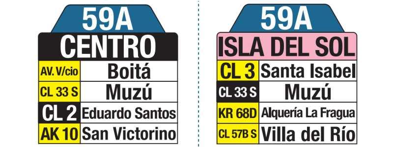 Tablas bus urbano: 59A Isla del Sol - Centro