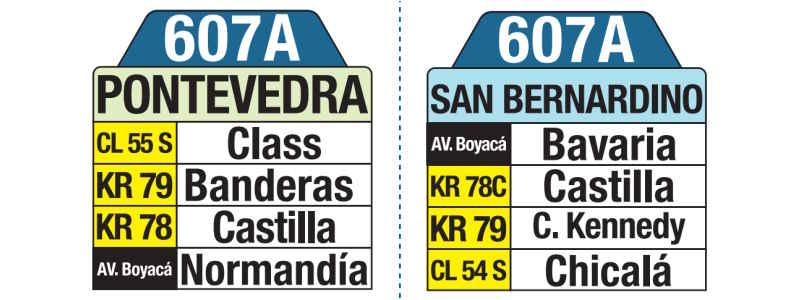607A Pontevedra - San Bernardino, letrero tabla bus del SITP