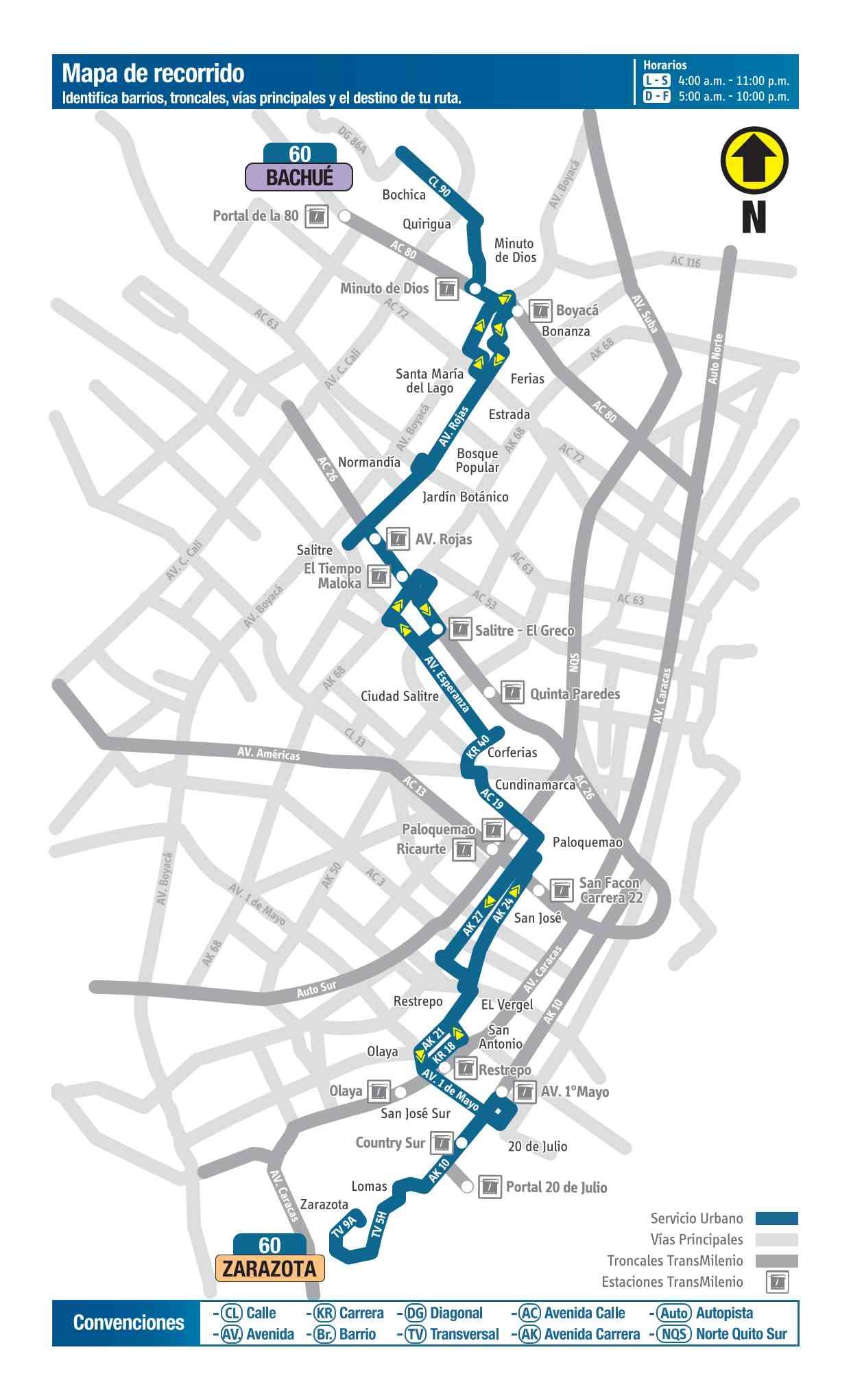 Mapa bus urbano: 60 Bachué - Zarazota