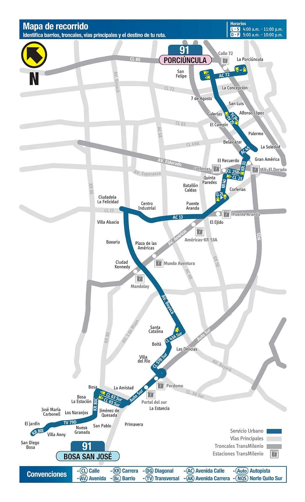 Mapa ruta bus Bogotá: 91 Porciúncula - Bosa San José