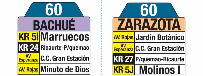 Tablas bus urbano Bogotá: 60 Bachué - Zarazota
