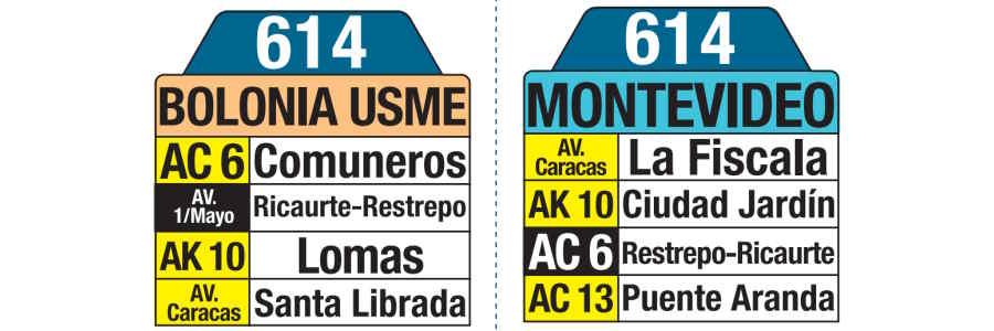 614 Bolonia Usme - Zona Industrial Montevideo, letrero tabla bus del SITP