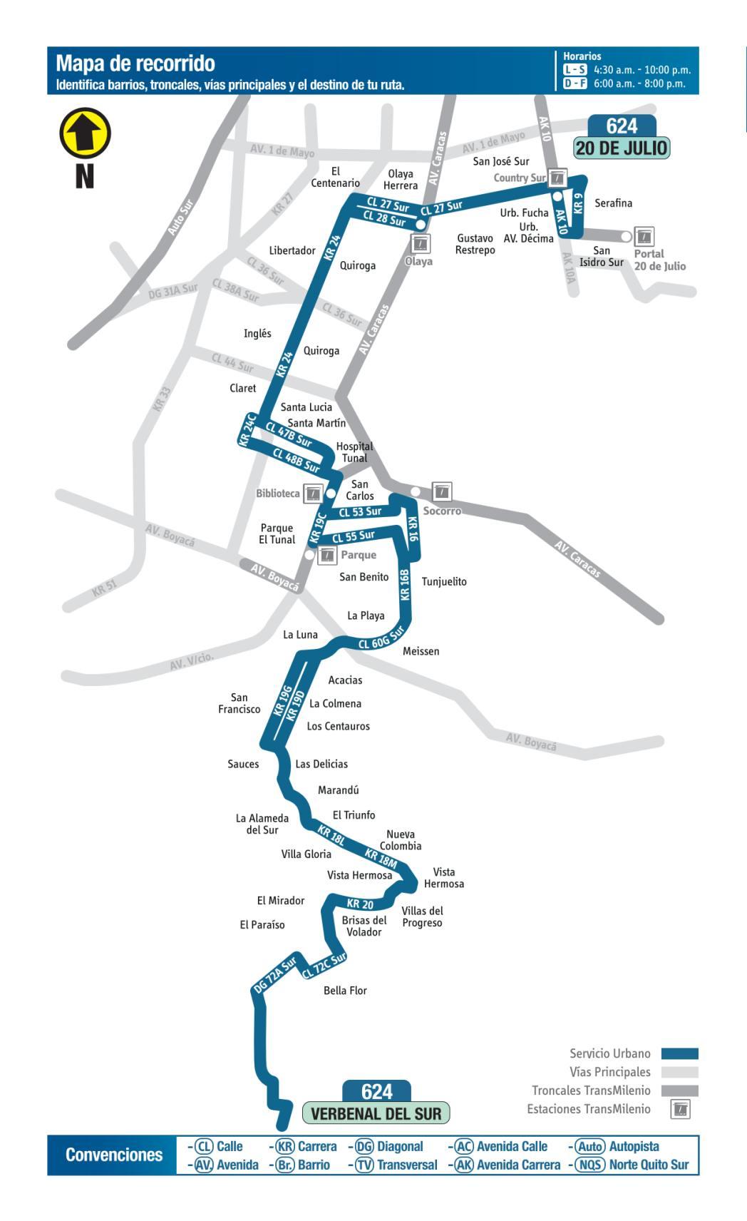 624 - 20 de Julio - Verbenal del Sur, mapa bus urbano Bogotá