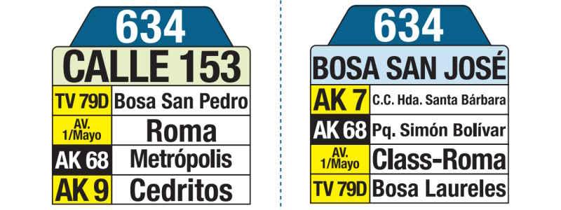 634 Bosa San José - Calle 153, letrero tabla bus del SITP