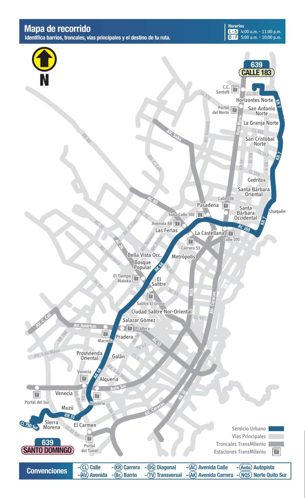 639 Calle 183 - Santo Domingo, mapa bus urbano Bogotá