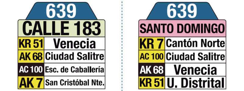 639 Calle 183 - Santo Domingo, letrero tabla bus del SITP