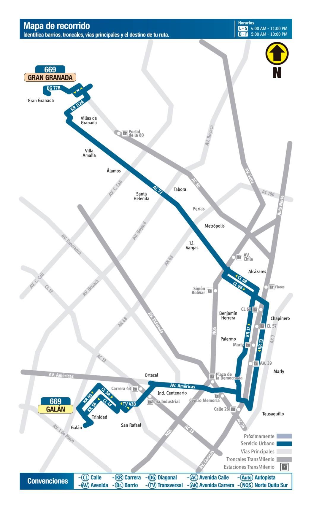 669 Galán - Gran Granada, mapa bus urbano Bogotá