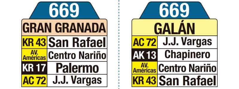 669 Galán - Gran Granada, letrero tabla bus del SITP