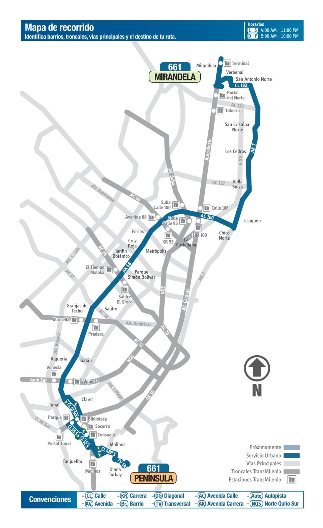 661 Península - Mirandela, mapa bus urbano Bogotá