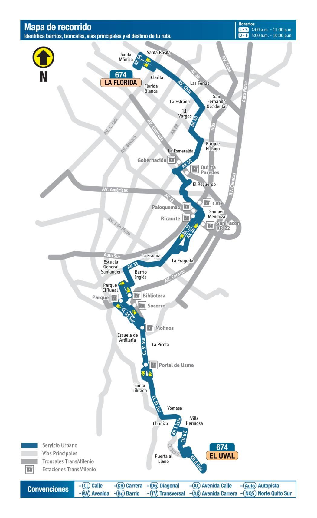 674 La Florida - El Uval, mapa bus urbano Bogotá
