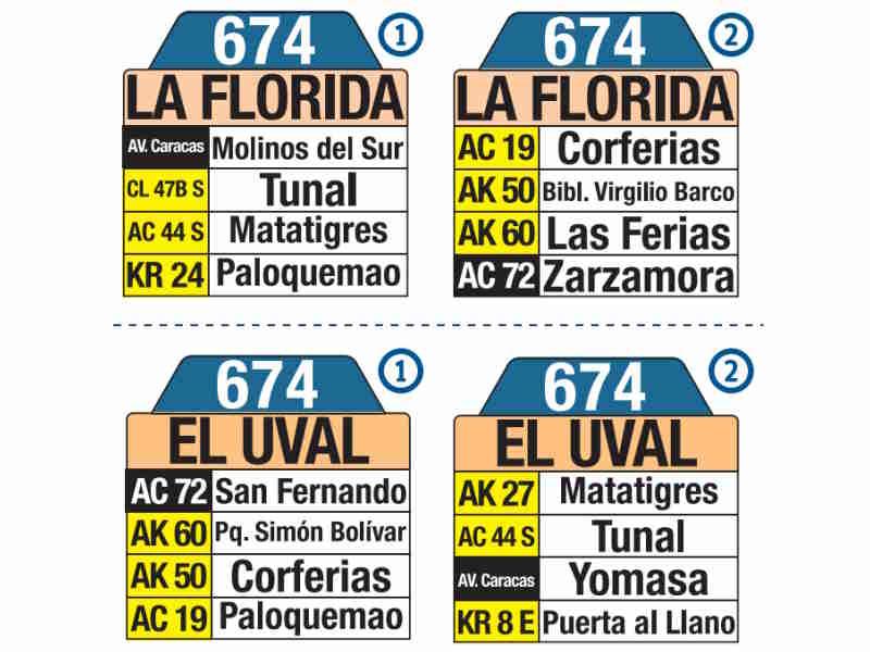 674 La Florida - El Uval, letrero tabla bus del SITP