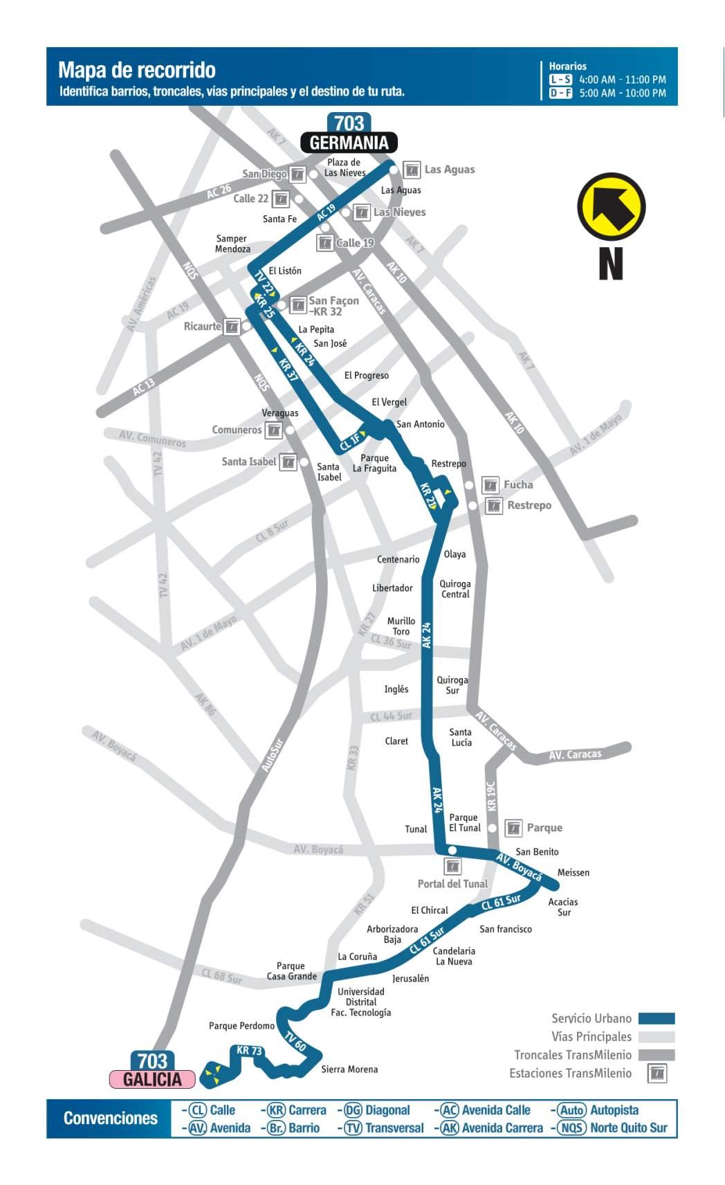 703 Germania - Galicia, mapa bus urbano Bogotá