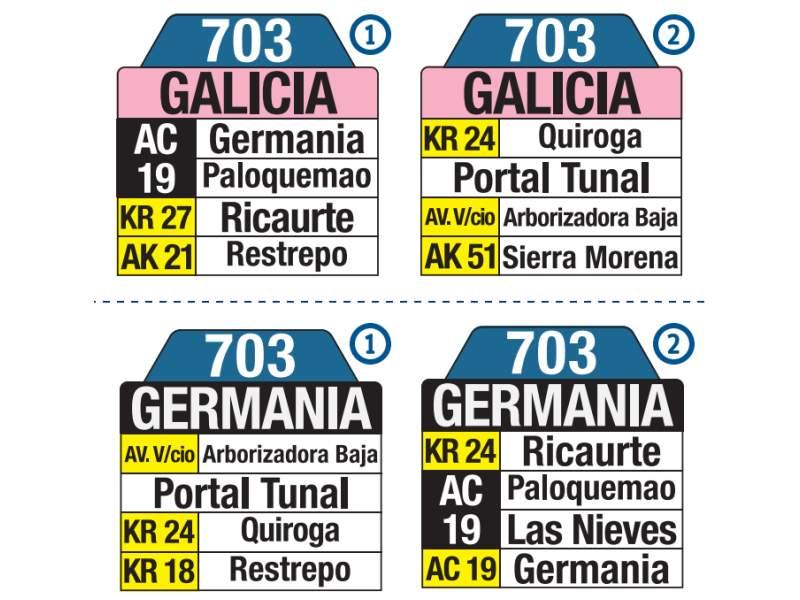 703 Germania - Galicia, letrero tabla bus del SITP