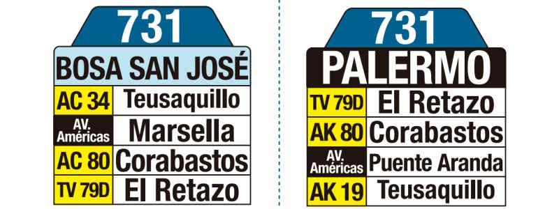 731 Bosa San José - Palermo, letrero tabla bus del SITP