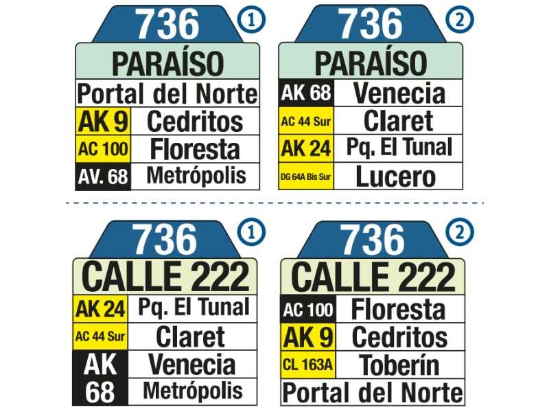 736 Paraíso - Calle 222, letrero tabla bus del SITP