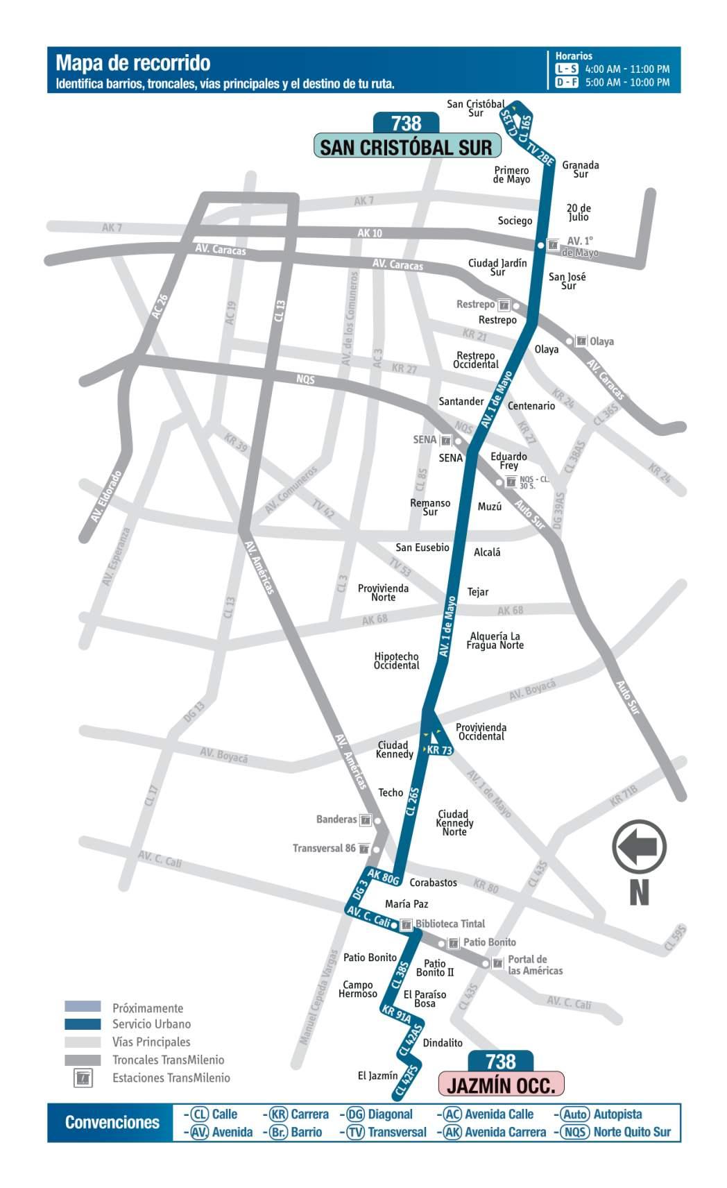 738 Jazmín Occidental - San Cristóbal Sur, mapa bus urbano Bogotá