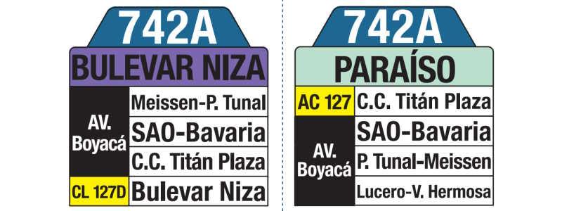 742A Bulevar Niza - Paraíso, letrero tabla bus del SITP