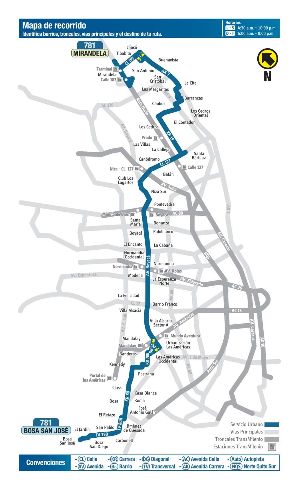 781 Bosa San José - Mirandela, mapa bus urbano Bogotá