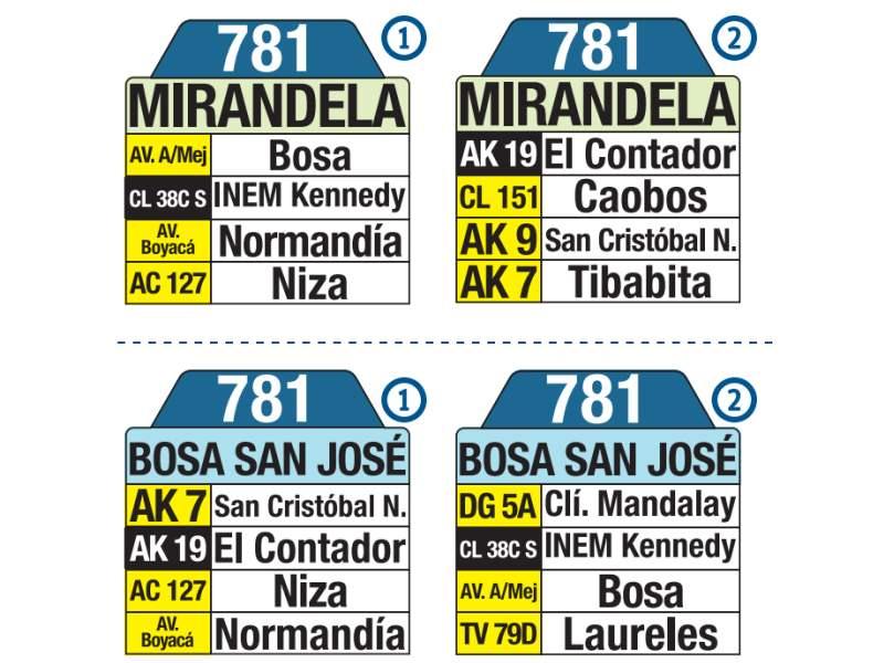781 Bosa San José - Mirandela, letrero tabla bus del SITP