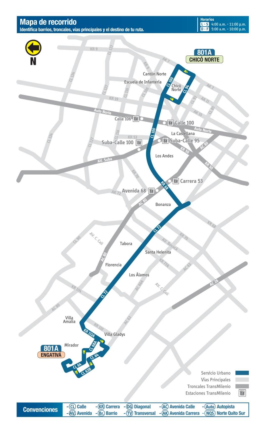 801A Chico Norte - Engativá, mapa bus urbano Bogotá