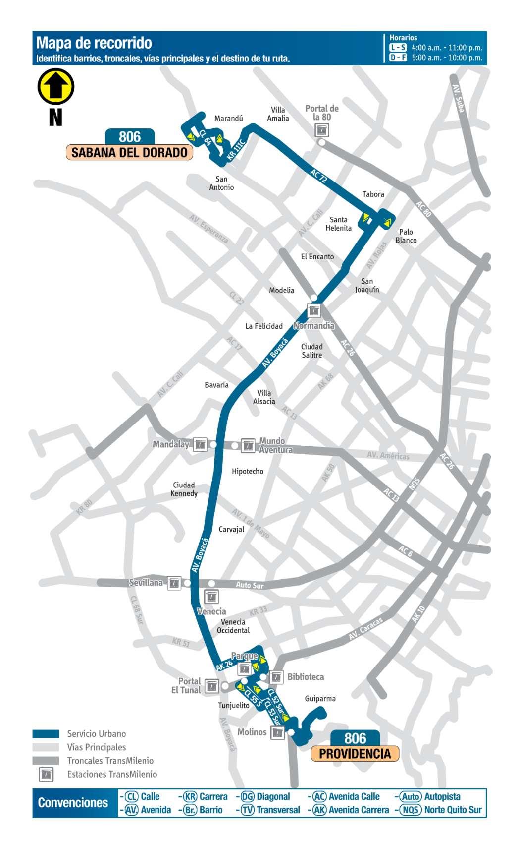 806 Sabana del Dorado - Providencia, mapa bus urbano Bogotá