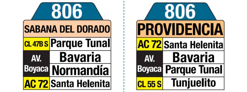 806 Sabana del Dorado - Providencia, letrero tabla bus del SITP