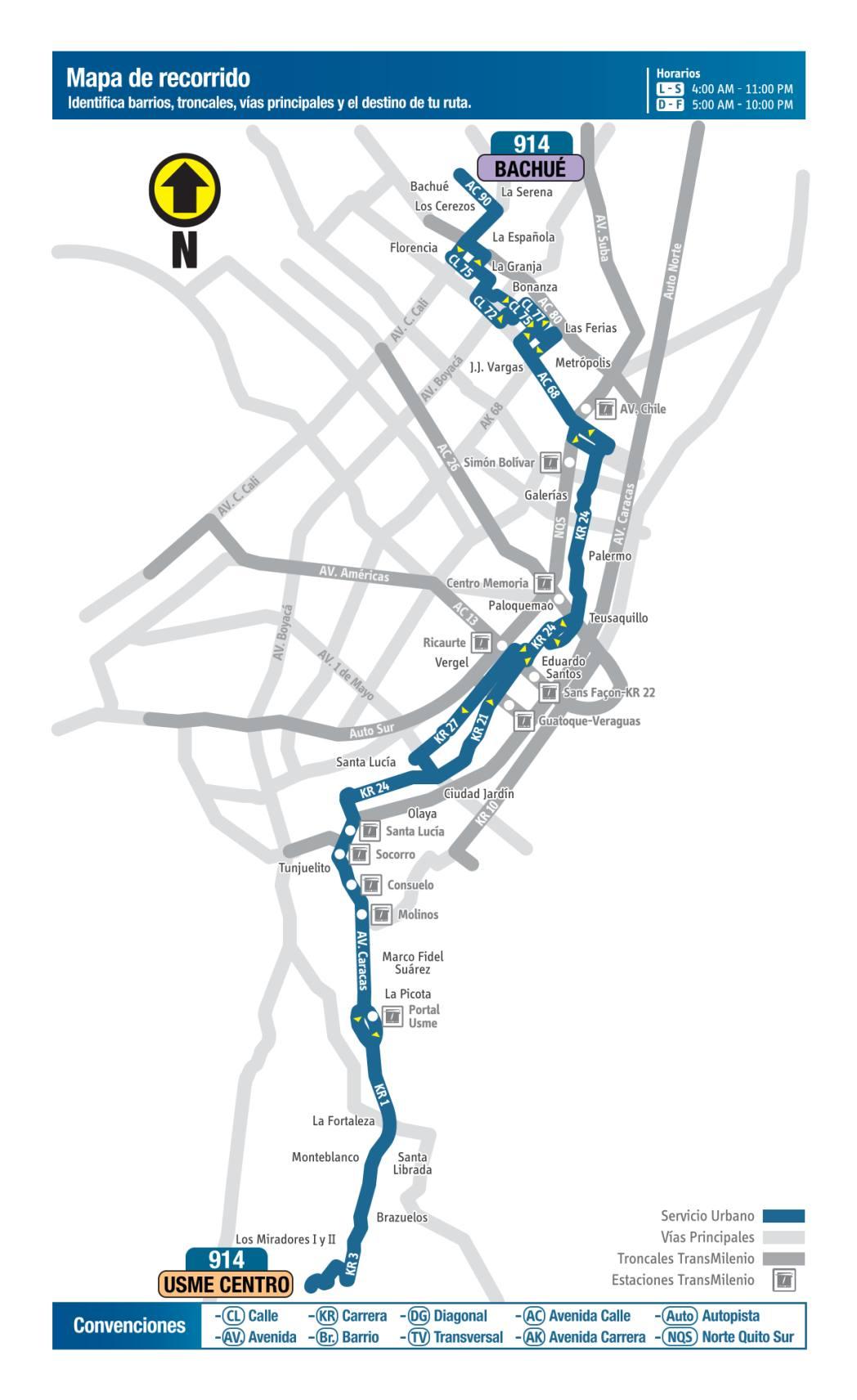 914 Bachué-Usme Centro, mapa bus urbano Bogotá